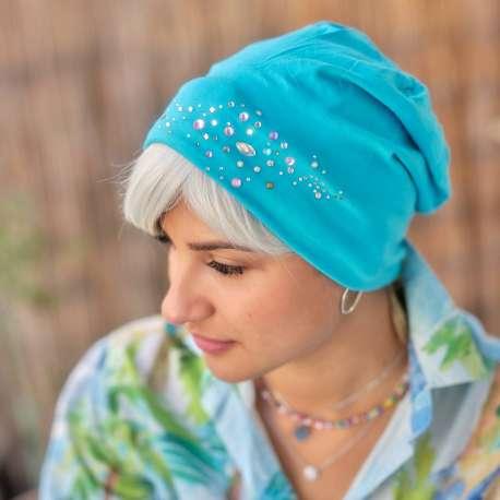 Bonnet de nuit bleu à strass