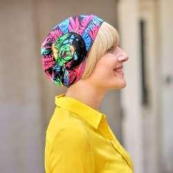 Bonnet Primavera Tropique à motifs noir rose bleu et vert